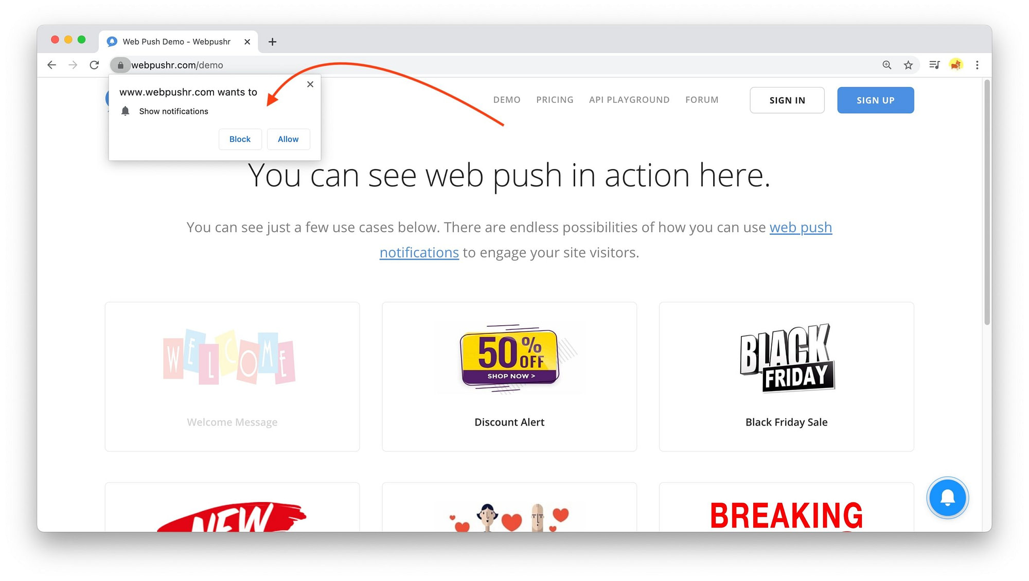 example opt-in for web push notifications