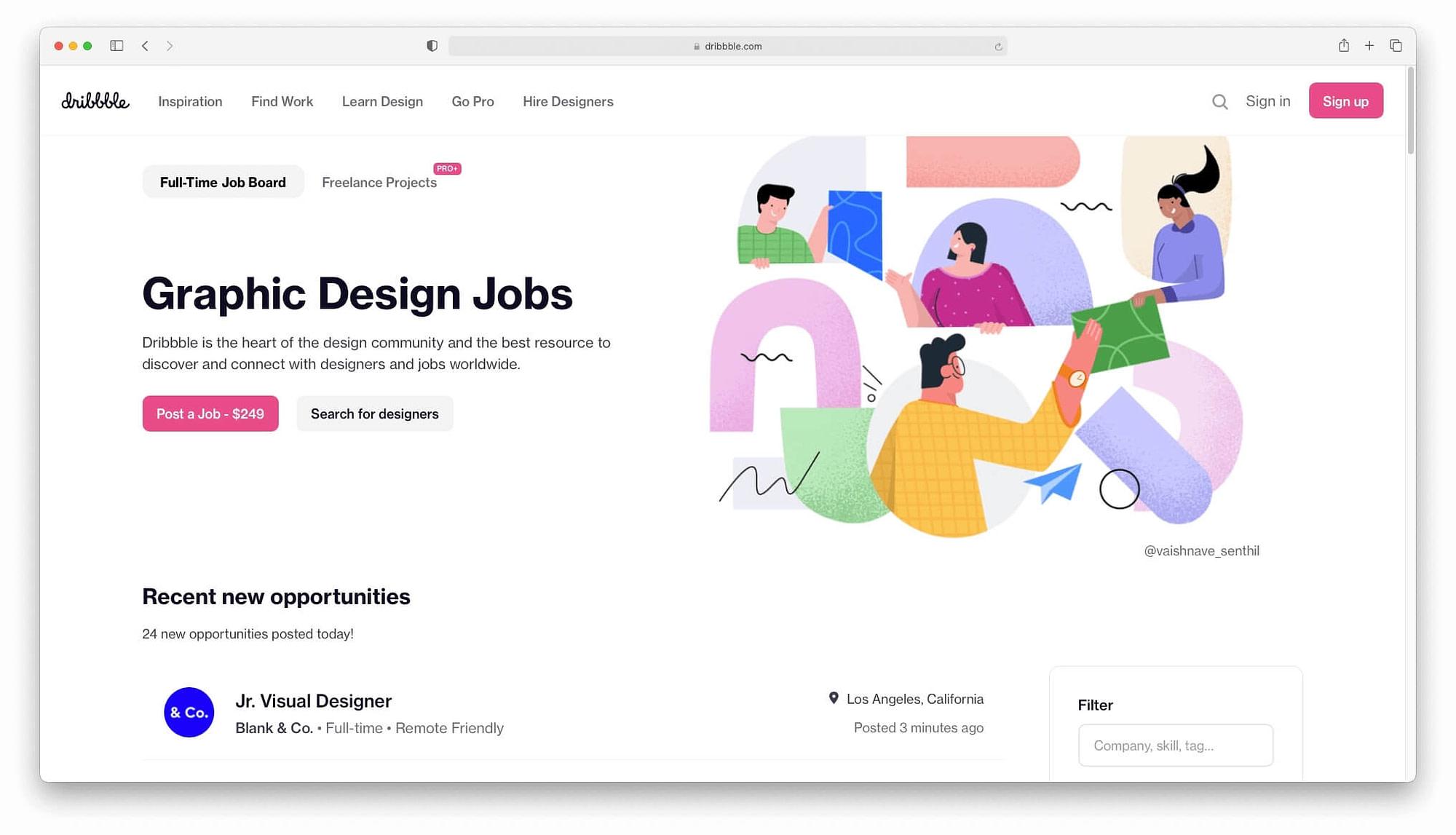 Dribble has a job platform for designers