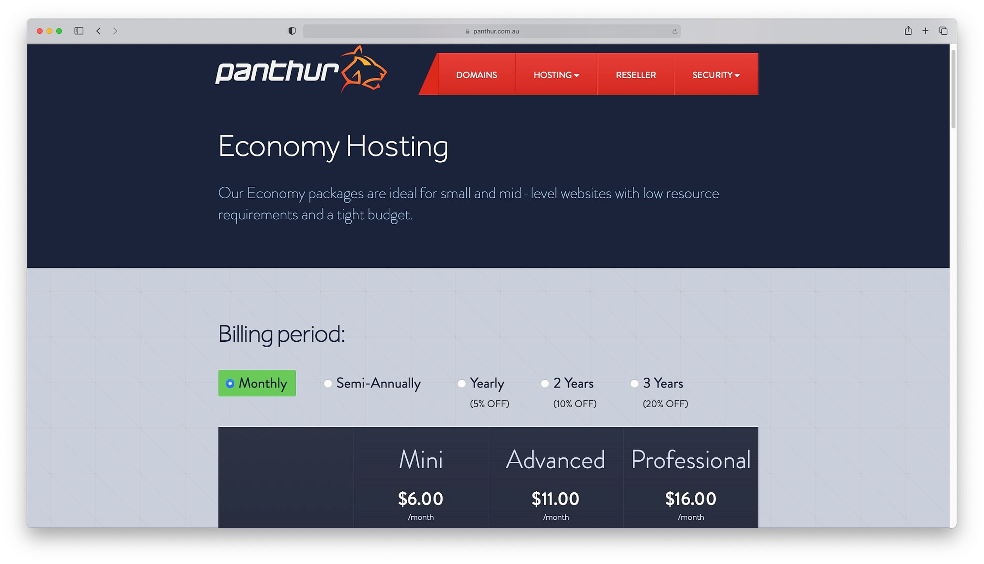 Panthur - an Australian operated host