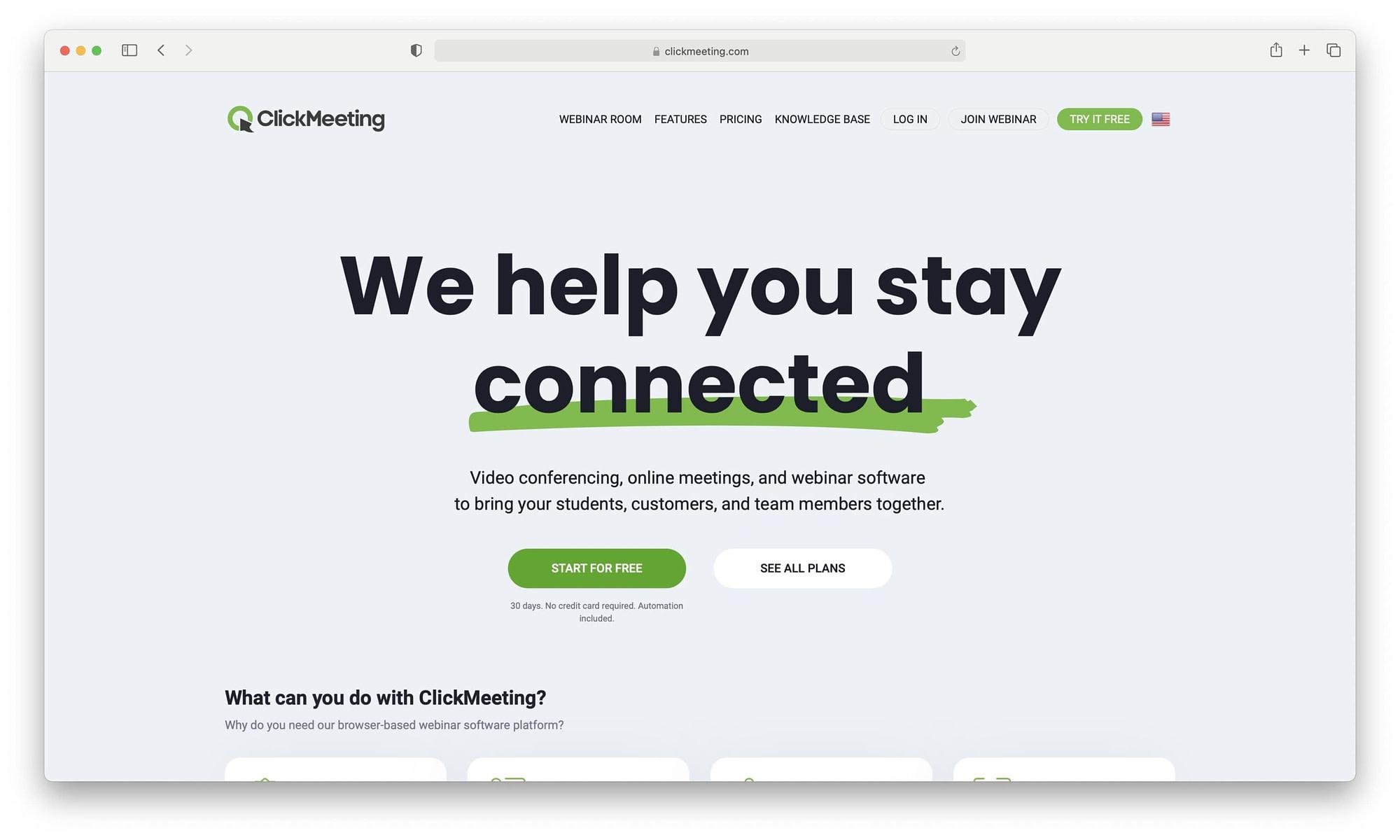 ClickMeeting homepage
