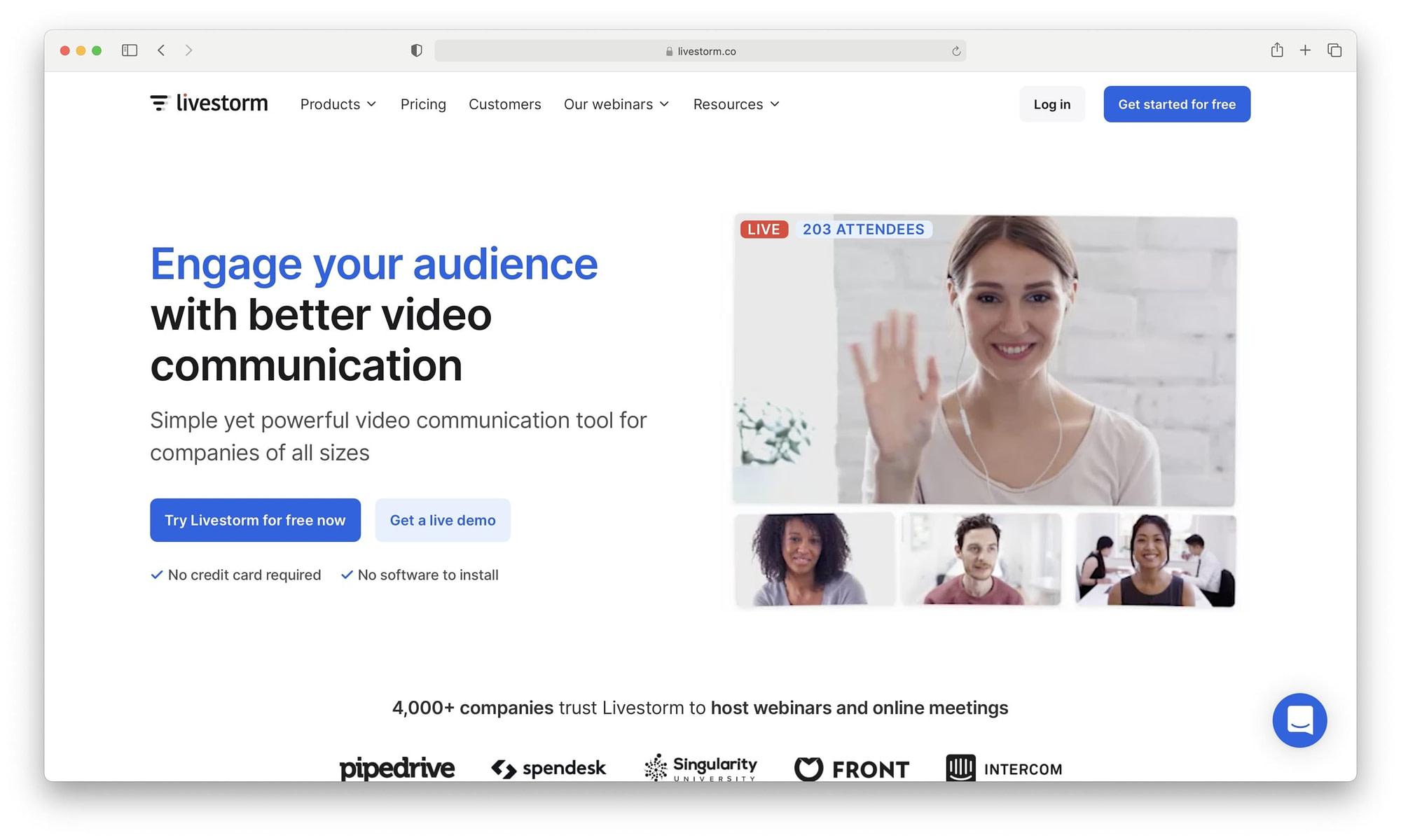 How to create a webinar: LiveStorm homepage