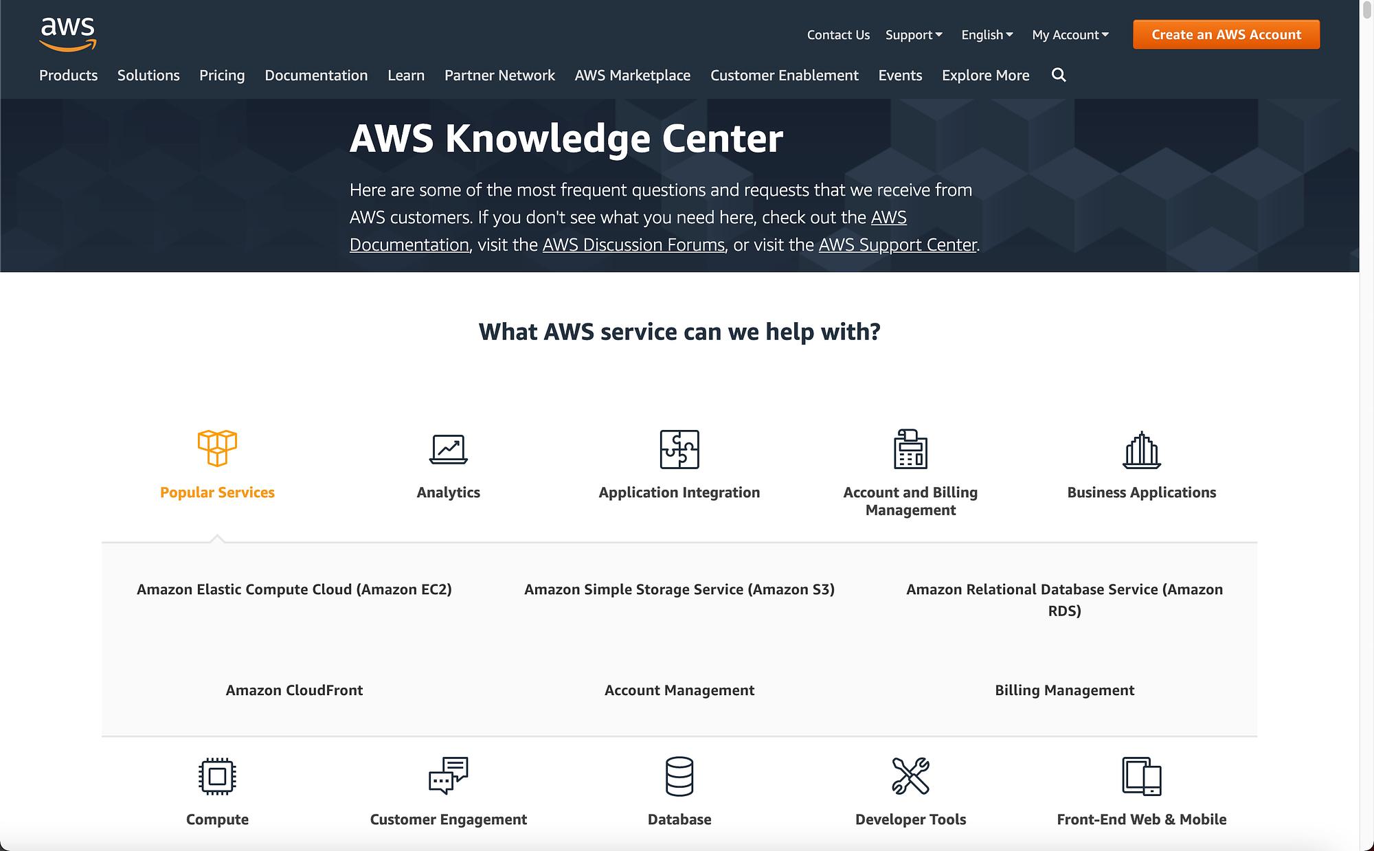 AWS support center