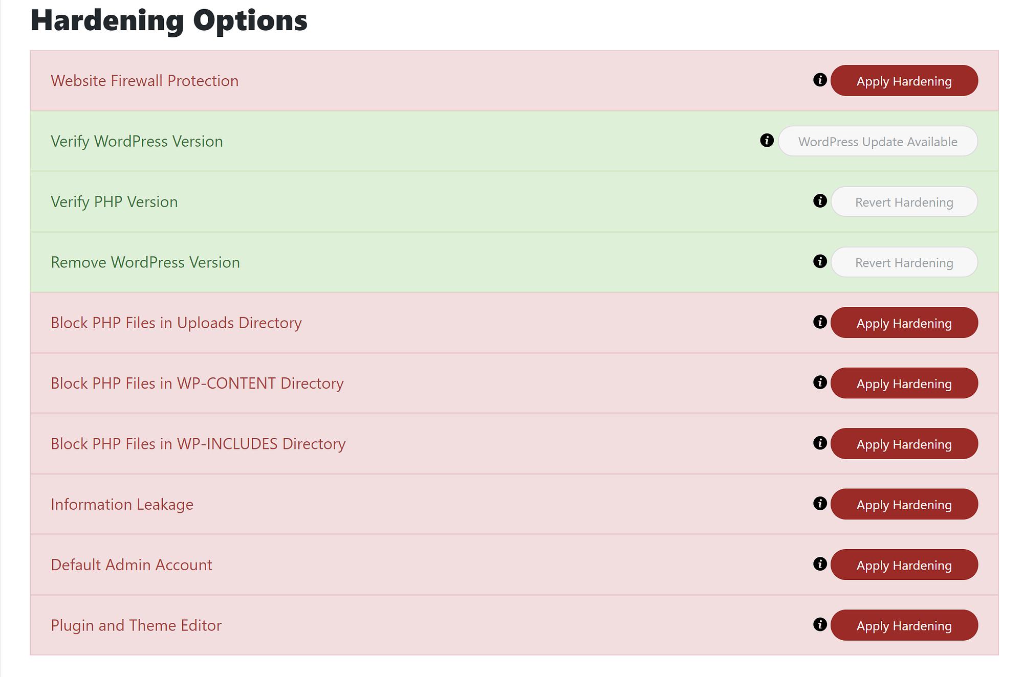 Sucuri hardening options