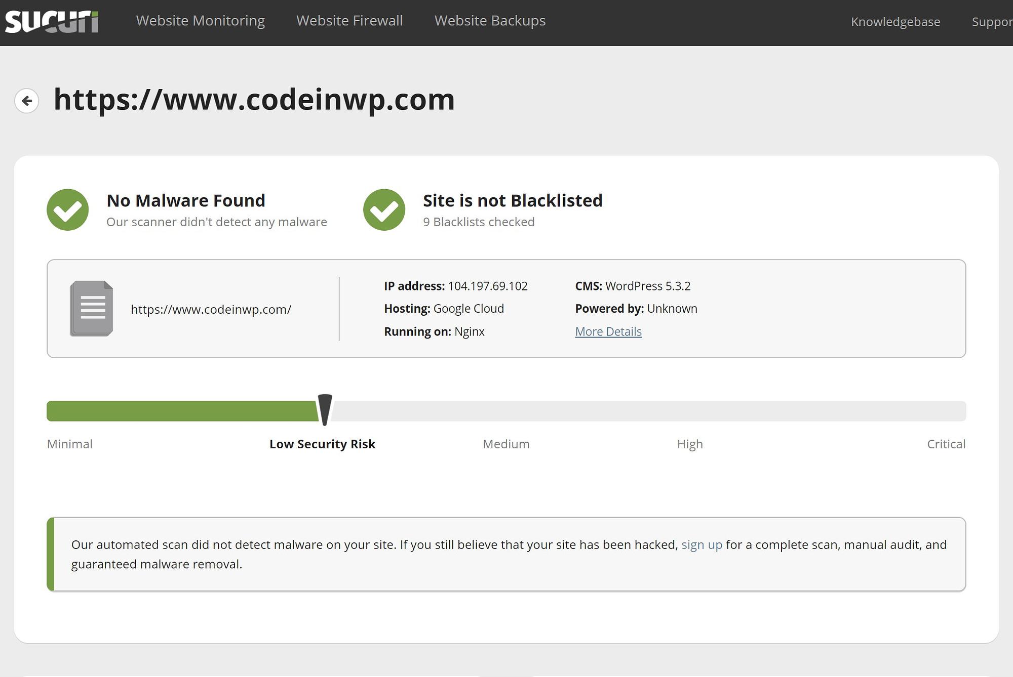 Sucuri SiteCheck website security tool