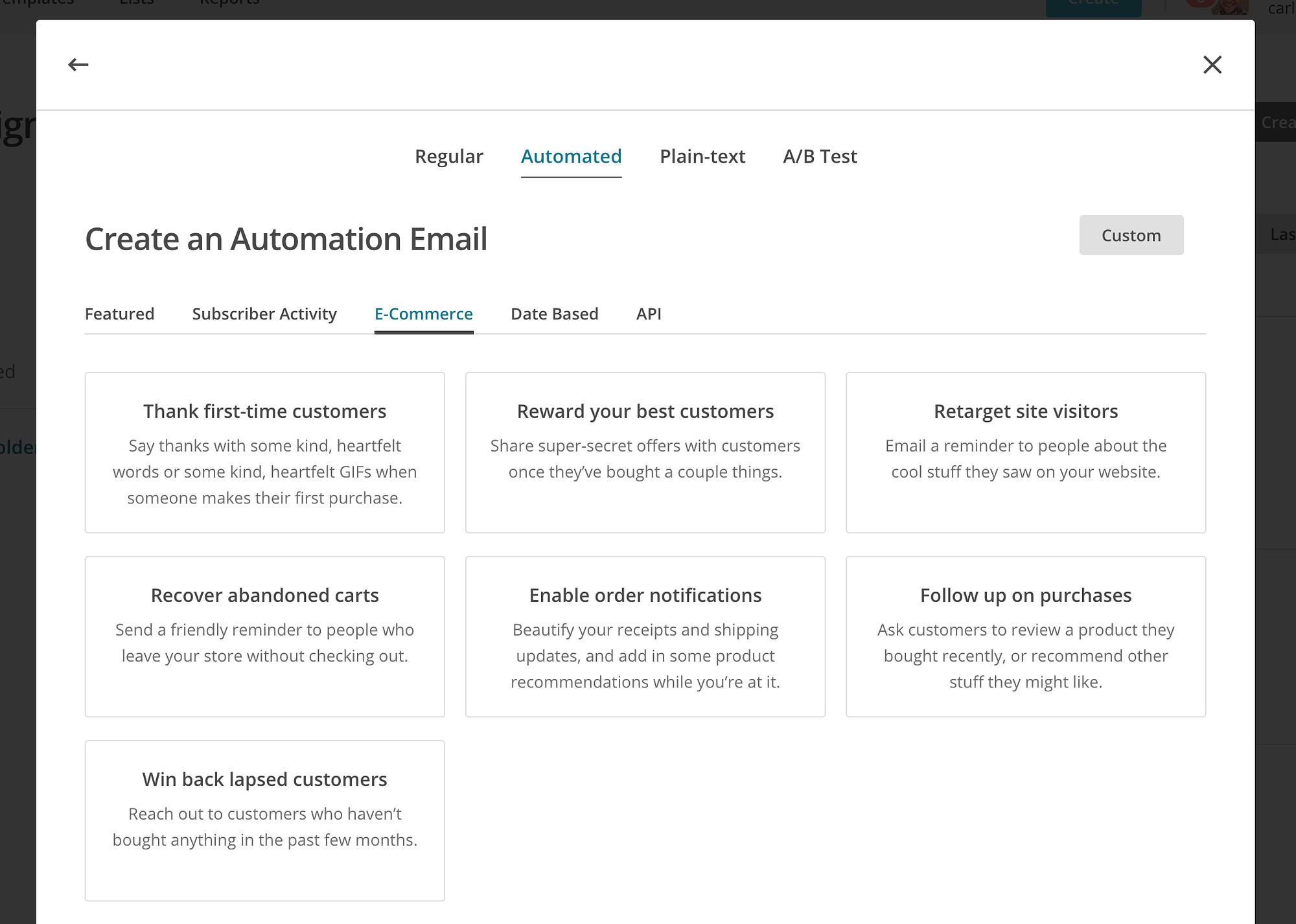 mailchimp premade automations