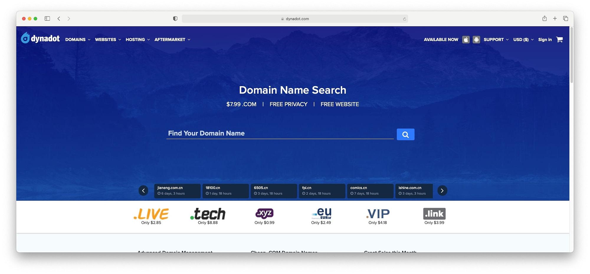 Dynadot offer cheap domains.