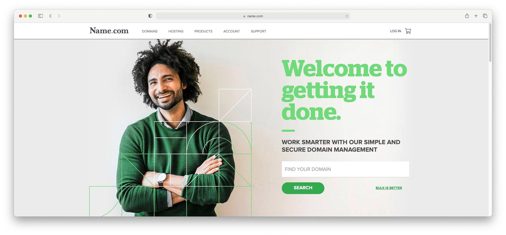 Name.com homepage.