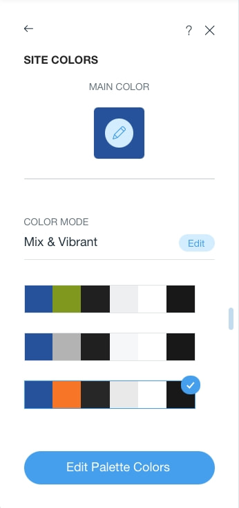 Wix tutorial picking a main color