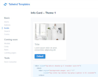 Tailwind Templates Cards view