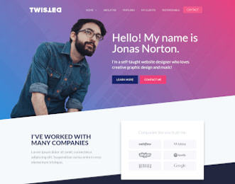 Twisted - One page website template view