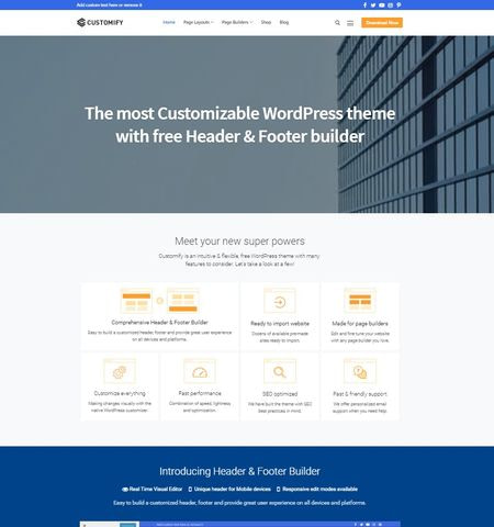 Best free WordPress themes #9: Customify