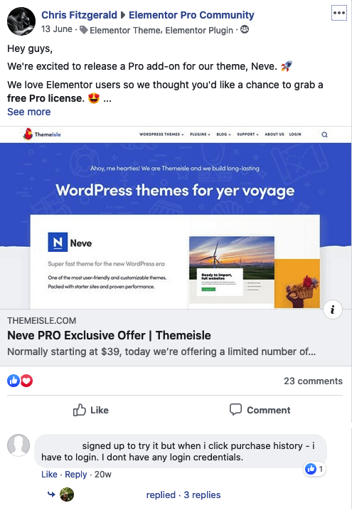 Facebook users let us know that we had a problem with our giveaway: it didn't work.