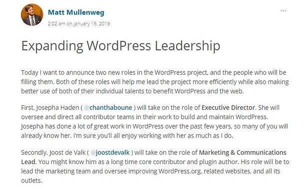 WordPress leadership team announcement