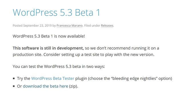 October 2019 WordPress news - WordPress 5.3 Beta 1 out