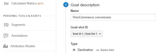 Screenshot showing the process of setting a custom goal.