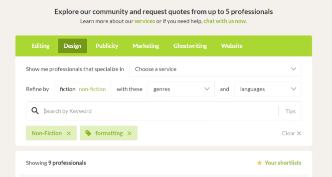 Reedsy Formatting Search