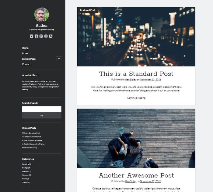 Best free WordPress themes for writers: Author