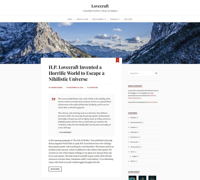 Best free WordPress themes for writers: Lovecraft