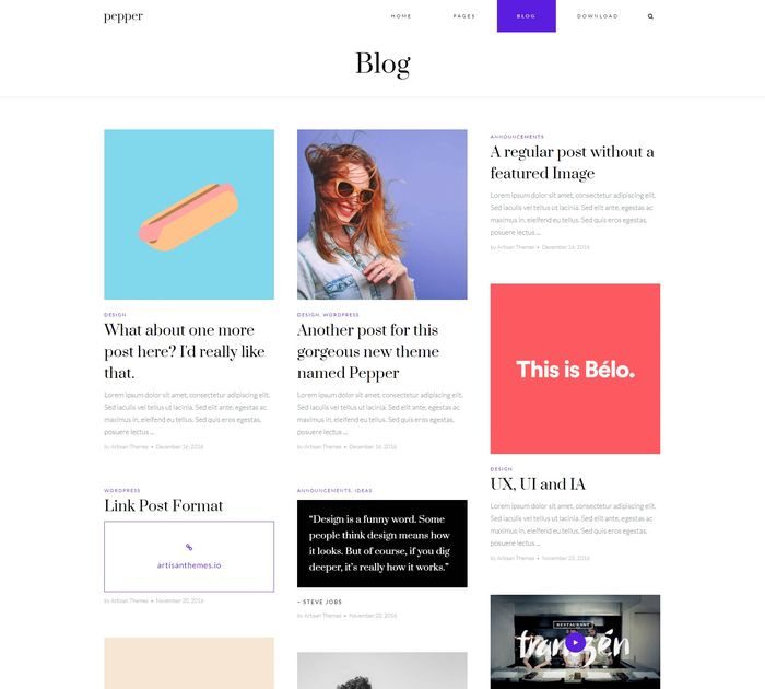 Best free WordPress themes for writers: Pepper