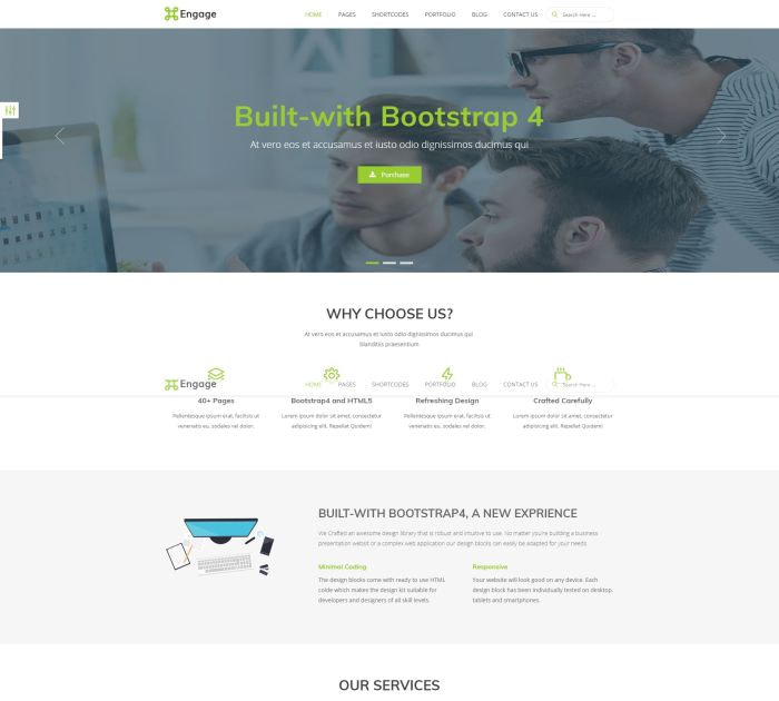 Best Bootstrap 4 templates: Engage
