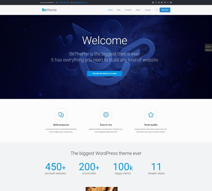 Best WordPress themes: betheme