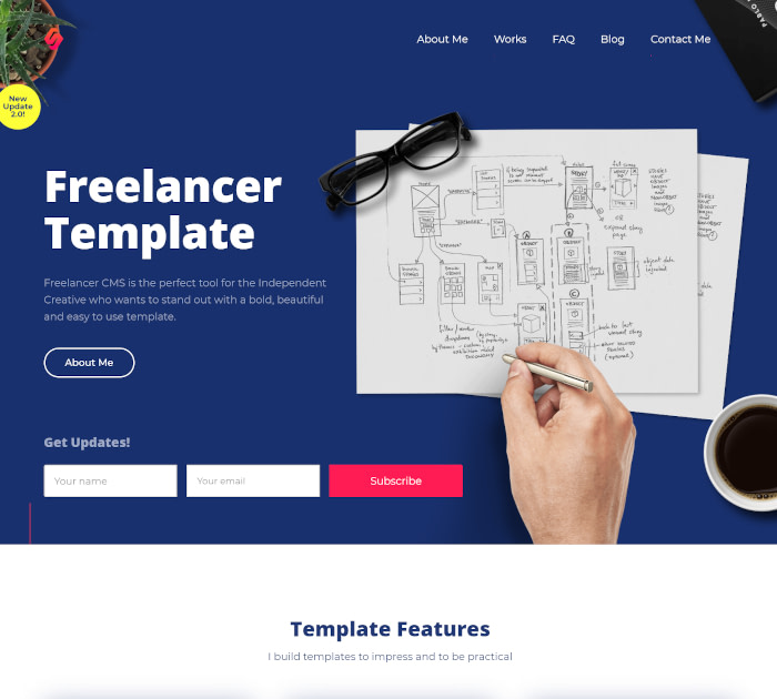Best Webflow templates and themes: Freelancer - Designer website template