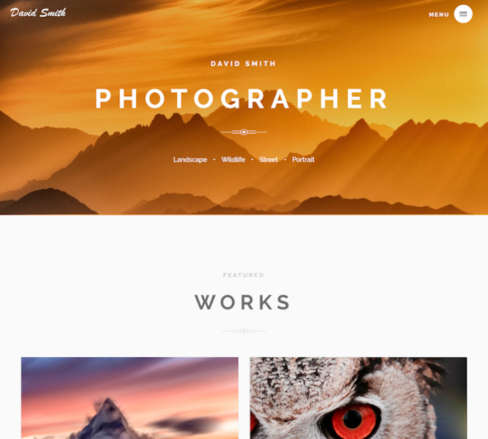 Best Webflow templates and themes: Photographer - Photography website template
