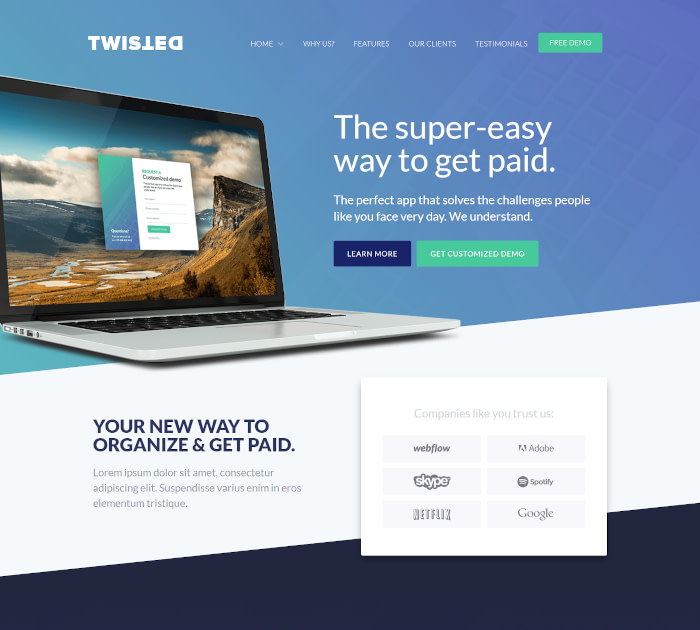 Best Webflow templates and themes: Twisted - One page website template