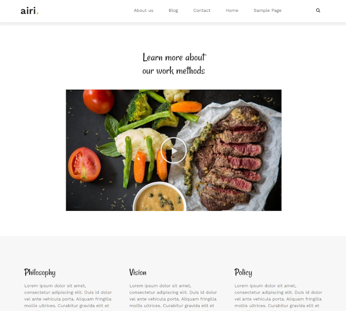 Best food delivery WordPress themes: Airi