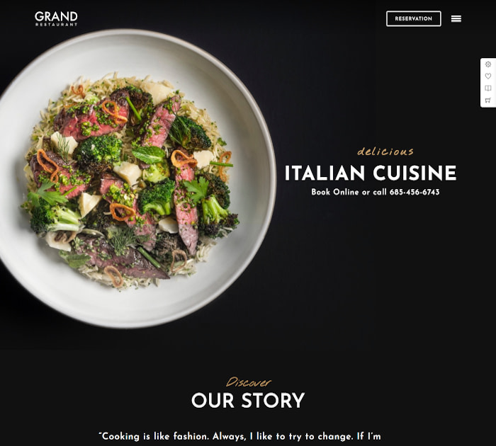 Best food delivery WordPress themes: Grand Restaurant