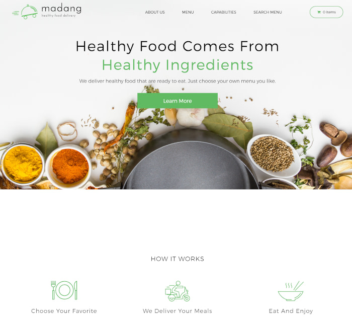 Best food delivery WordPress themes: Madang