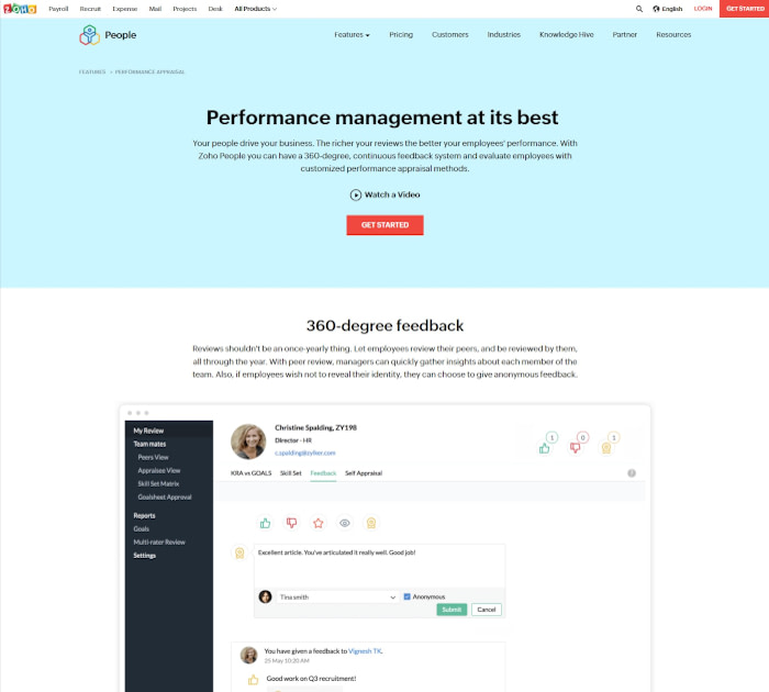 Best performance appraisal software: Zoho People