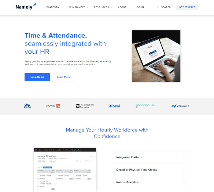 Best time and attendance software: Namely