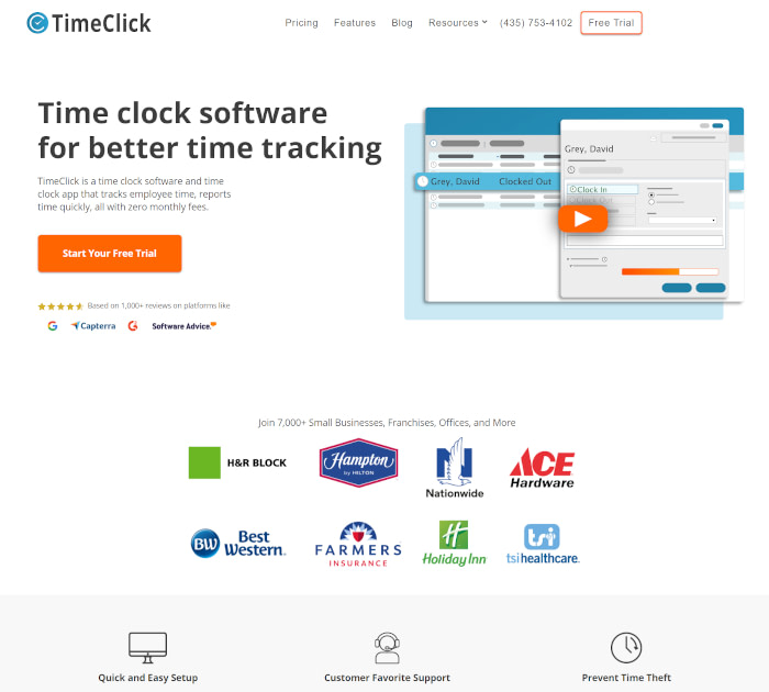 Best time and attendance software: TimeClick