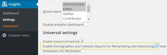 A screenshot showing the option to enable reports on MonsterInsights.