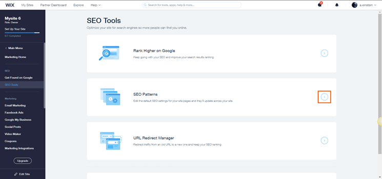 Wix SEO tools page
