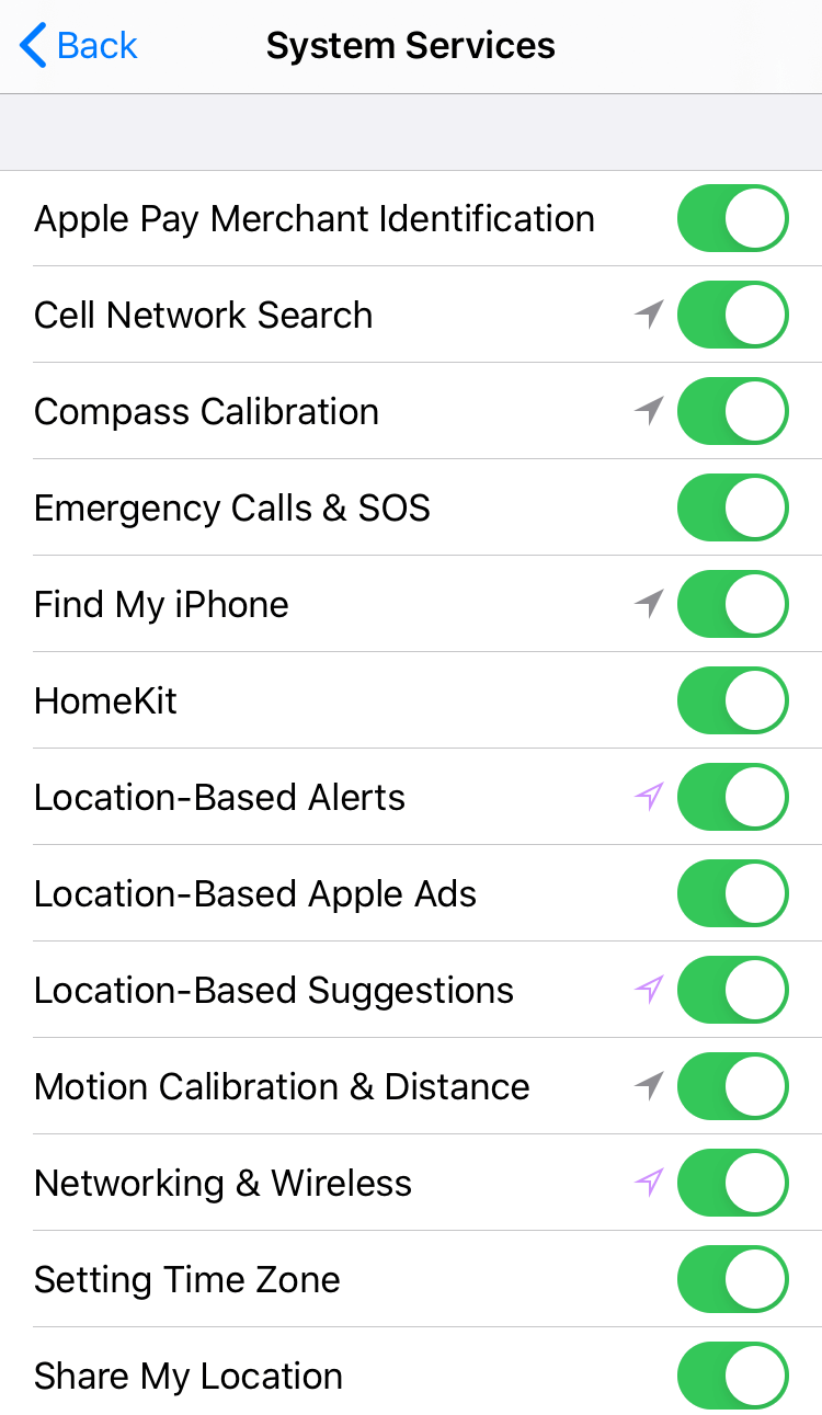 iPhone system services location tracking settings