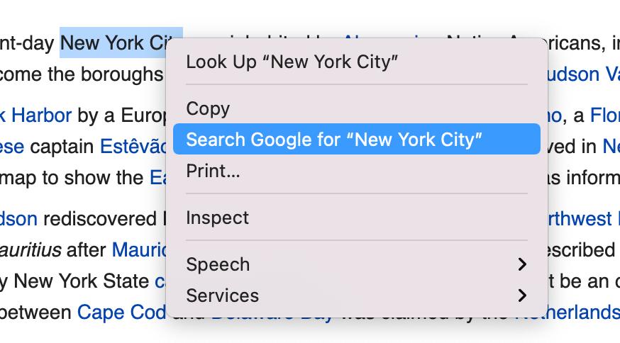 Google Chrome Context Menu