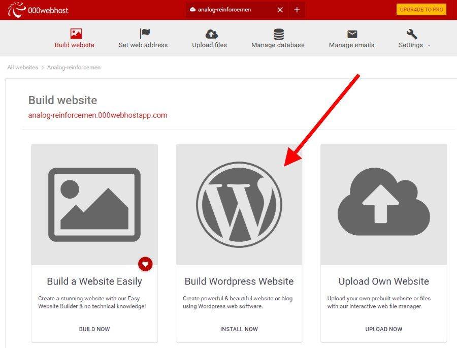 000webhost WordPress install