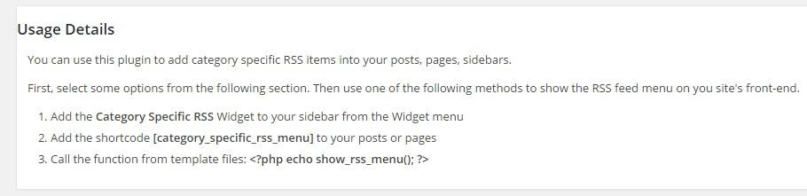 category usage