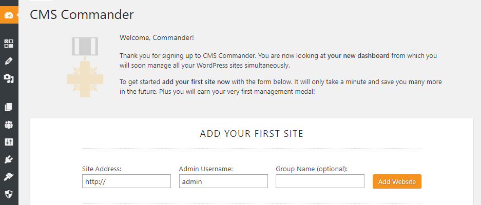 Adding a new website to CMS commander to manage multiple WordPress websites.