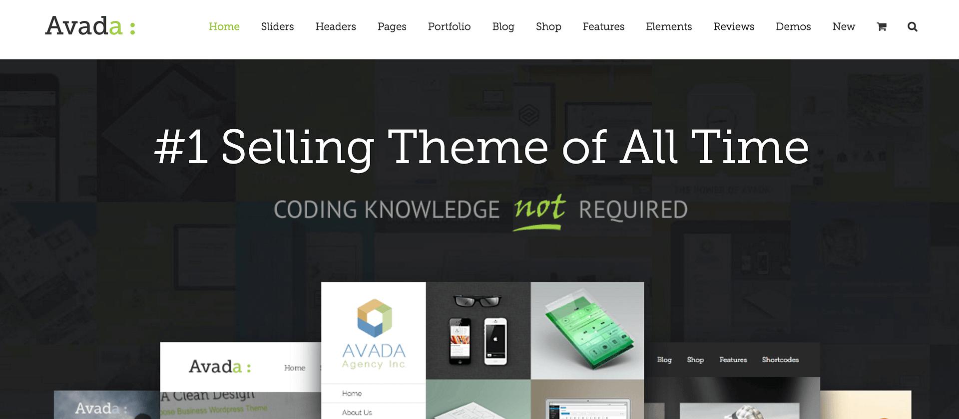 The Avada homepage.