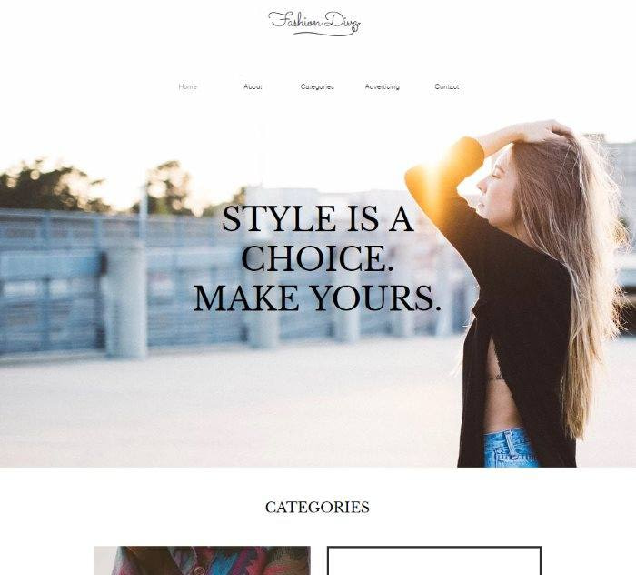 Wix templates: Fashion