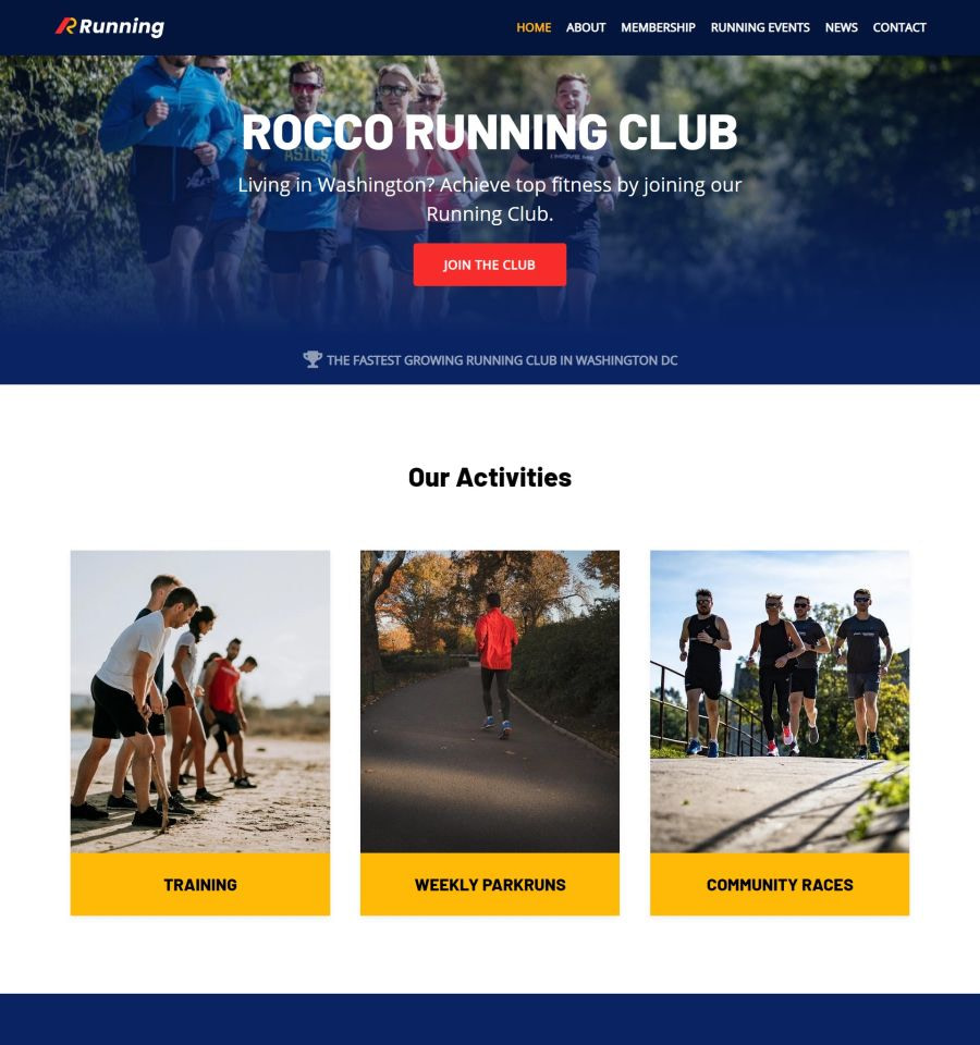 Best Fitness and Lifestyle WordPress Themes: Neve Running Club