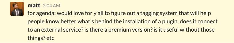 Matt on Slack on new WordPress plugin tags