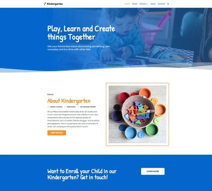 Best education WordPress themes: Neve Kindergarten