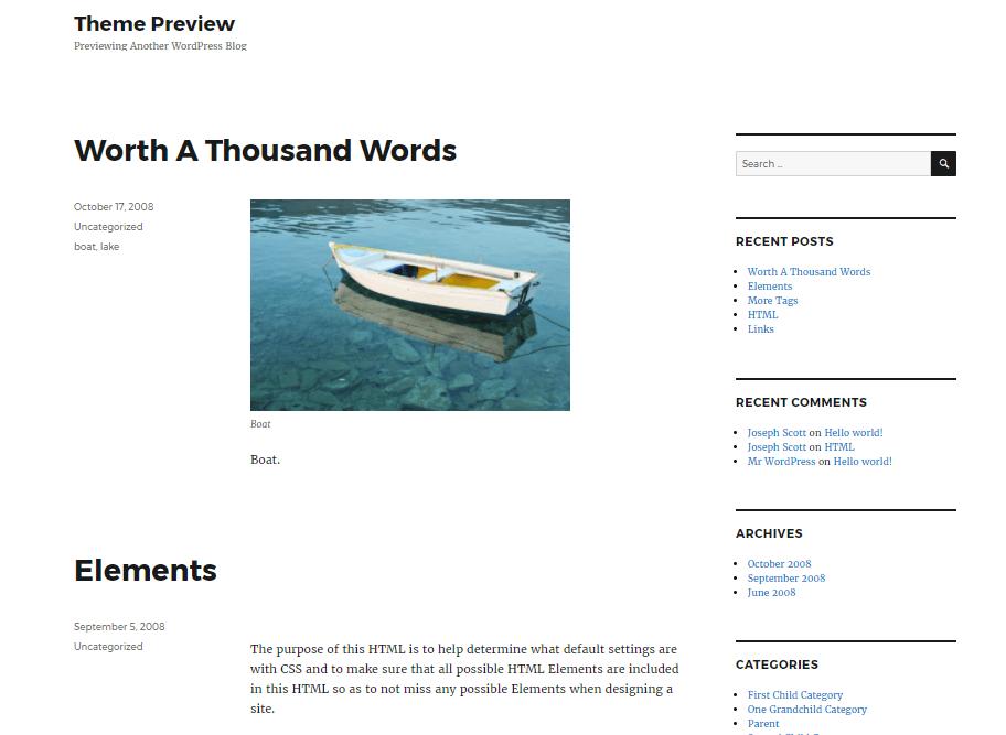 what a normal WordPress blog homepage looks like