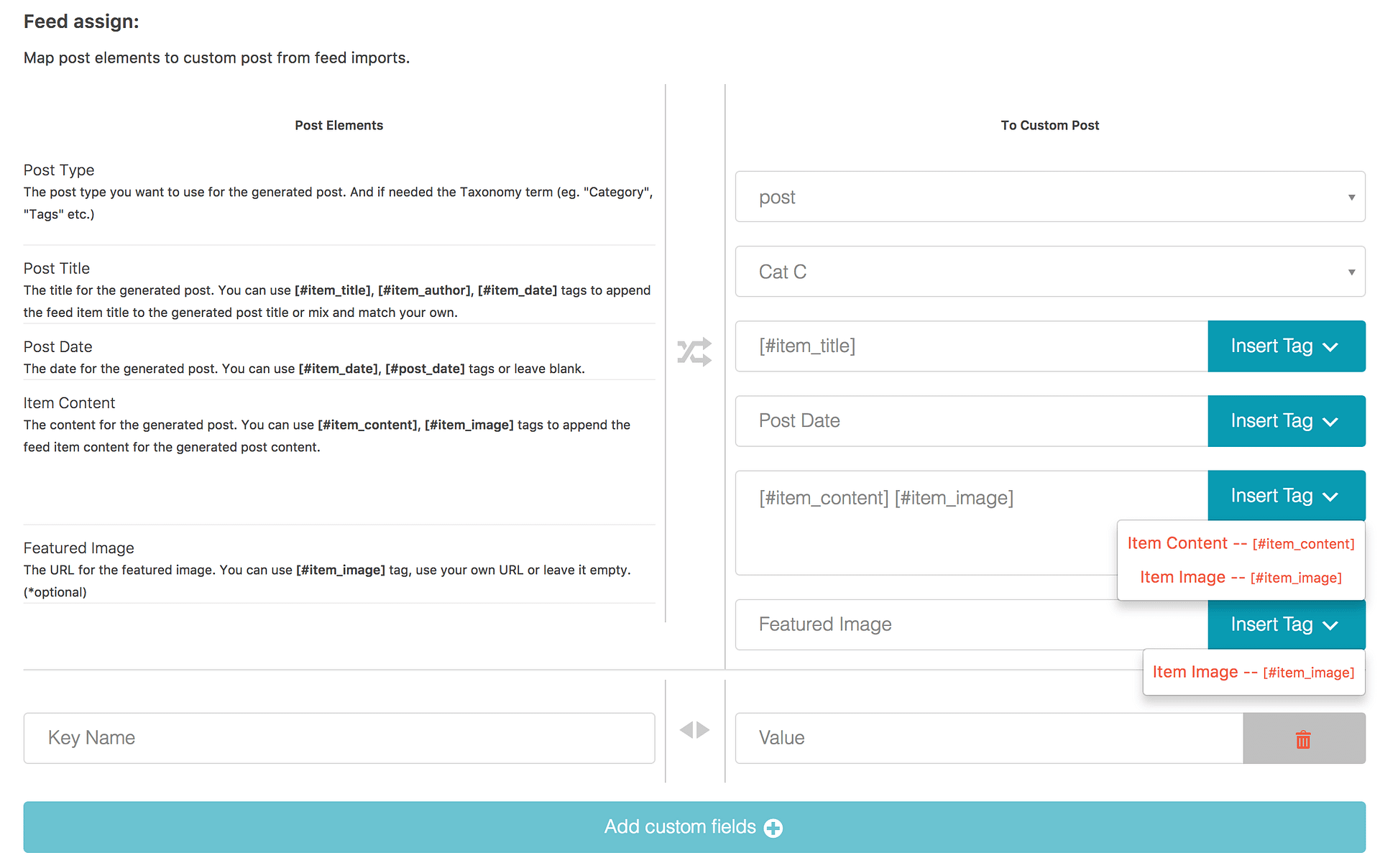 Feedzy import settings