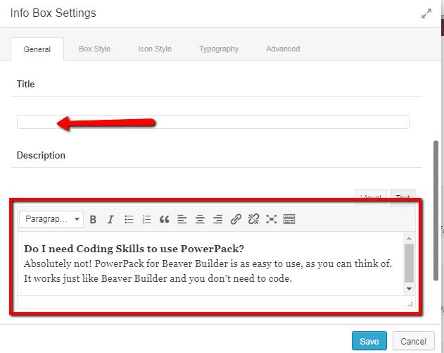 info box settings
