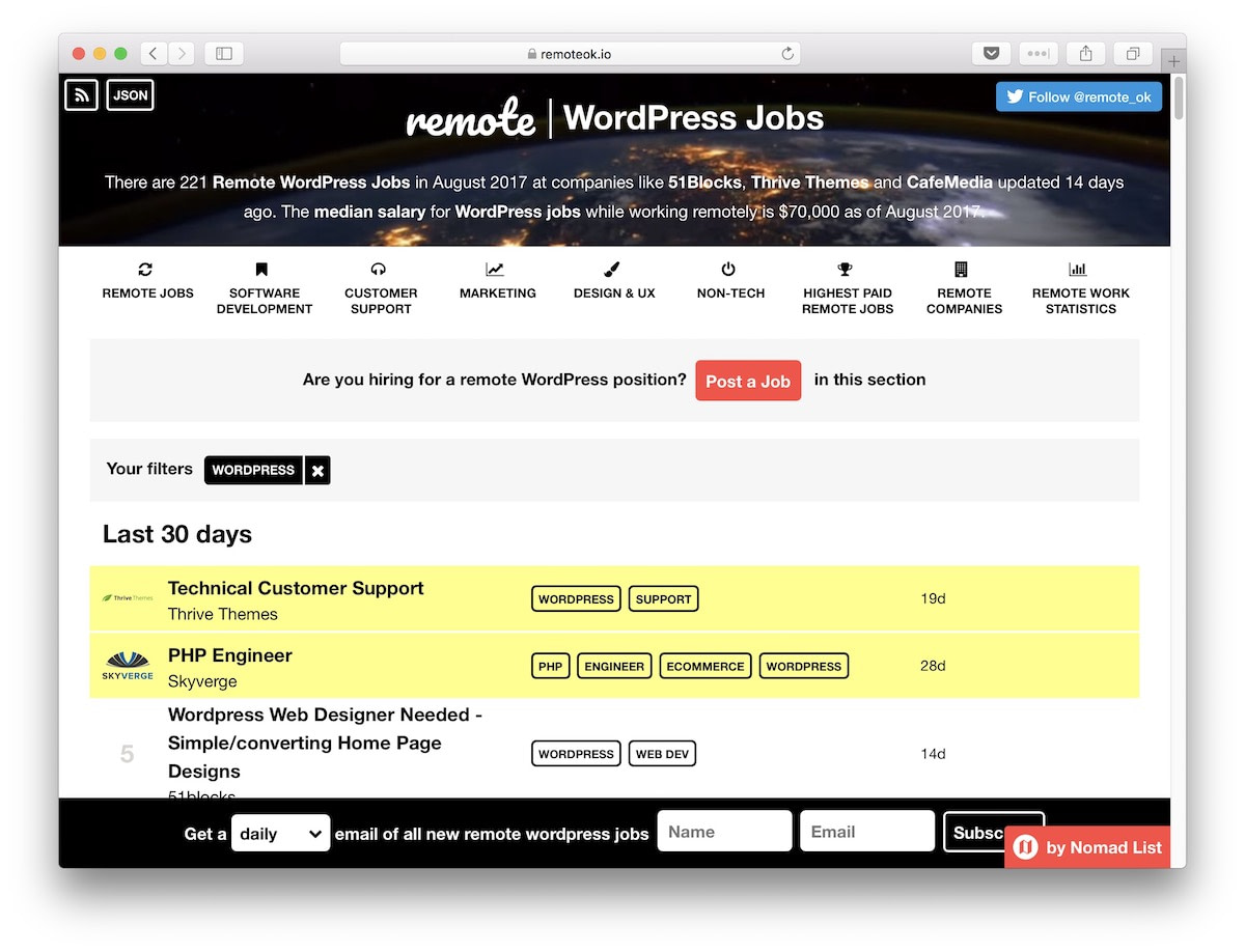 Find WordPress jobs at Remote OK